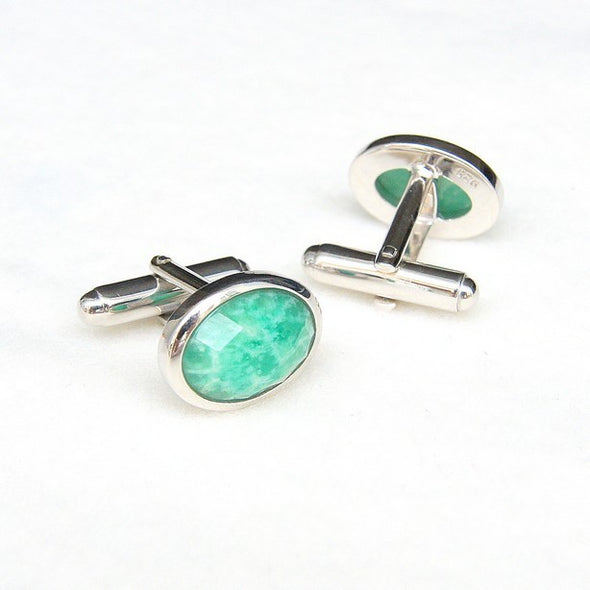 Amazonite Gemstone Sterling Silver Cufflinks
