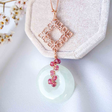 Jade with Peranakan Tile and Spinel Vine Necklace