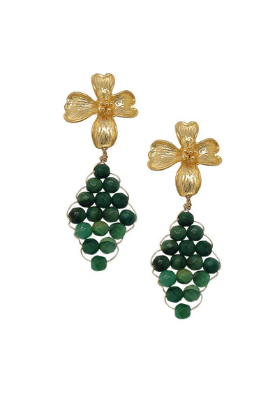 Floral Ear Studs with Hand-woven African Jade