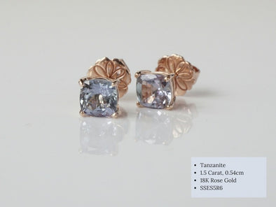 Square Tanzanite Ear Studs in 18K Rose Gold SSES5R6