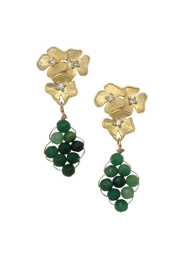 Floral Cluster Ear Studs with Hand-woven African Jade