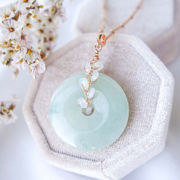 Jade with Opal Vine Necklace