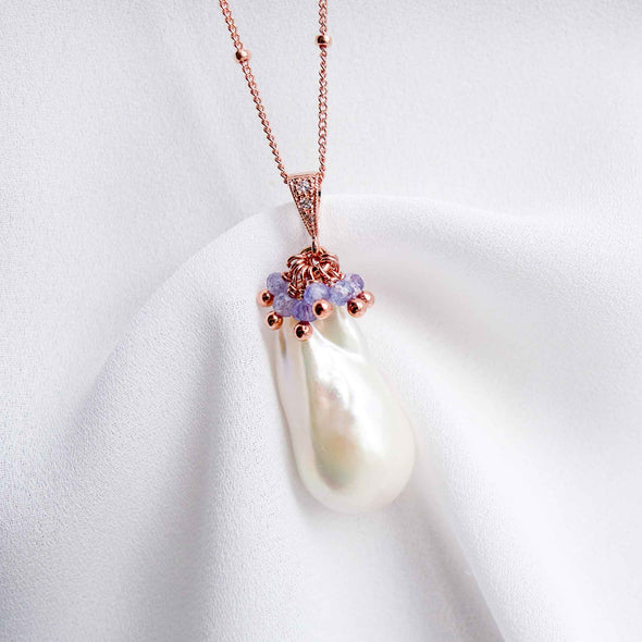 Baroque Pearl Necklace with Tanzanite Cluster