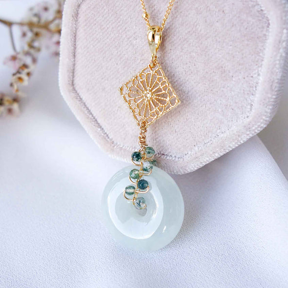 Jade with Small Peranakan Tile and Moss Agate Vine Necklace