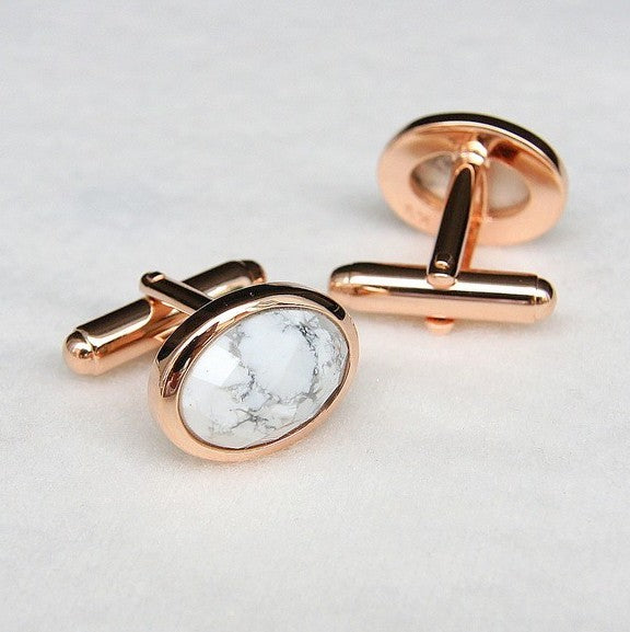 Howlite Gemstone Rose Gold Cufflinks