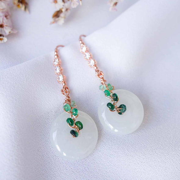 White Jade with Emerald Vine Hook Earrings