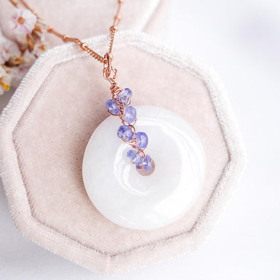 White Jade with Tanzanite Vine Necklace