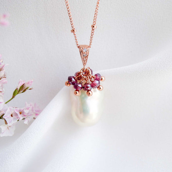 Baroque Pearl Necklace with Garnet Cluster