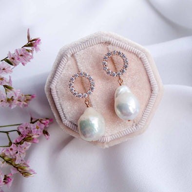 Halo Ear Studs with Baroque Pearls - #23