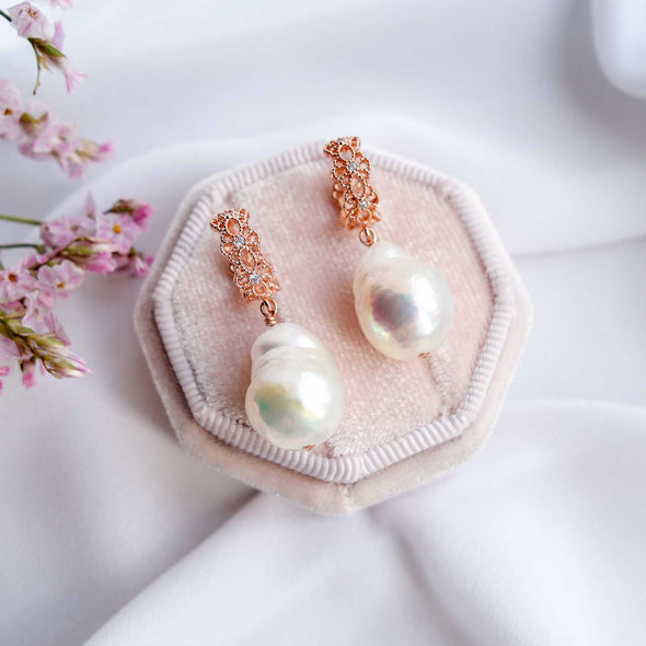Intricate Ear Hoops with Baroque Pearls - #24