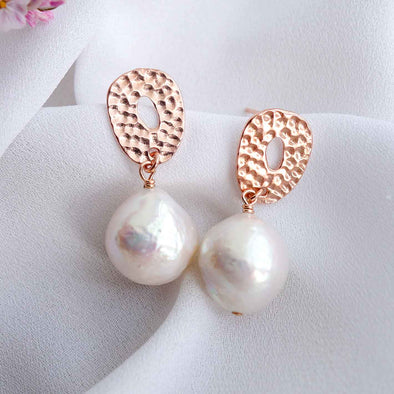 Hammered Donut Ear Studs with Baroque Pearls - #25
