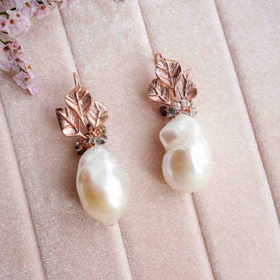 Three Leaf Ear Hook Baroque Pearl Earrings with Celadon Sapphire Cluster - #26
