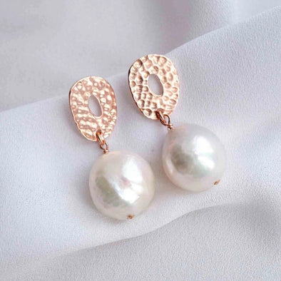 Hammered Donut Ear Studs with Baroque Pearls - #27