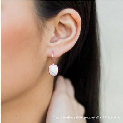 Howlite Rose Gold Hook Earrings
