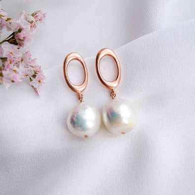 Chic Oval Ear Studs with Baroque Pearls - #28