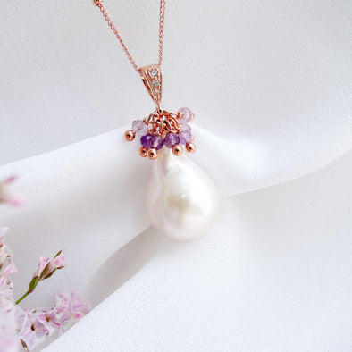 Baroque Pearl Necklace with Amethyst Cluster
