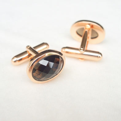 Smoky Quartz Gemstone Rose Gold Cufflinks