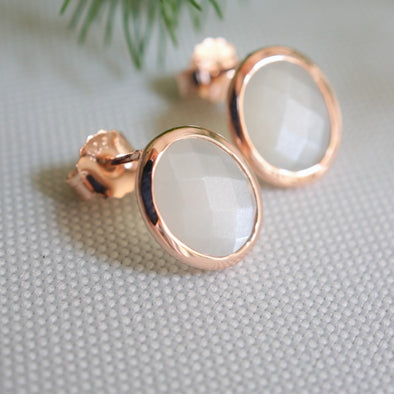 Oval Moonstone Rose Gold Ear Studs