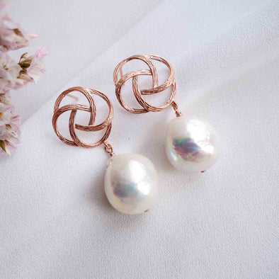 Pinwheel Ear Studs with Baroque Pearls - #31