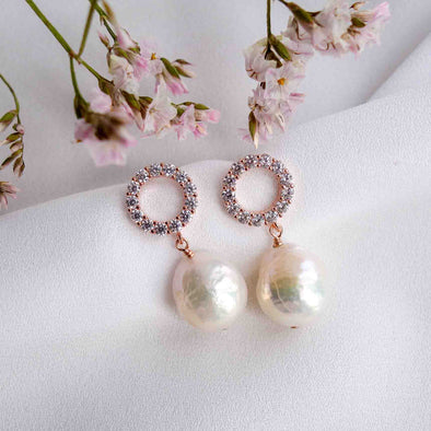 Halo Ear Studs with Baroque Pearls - #32