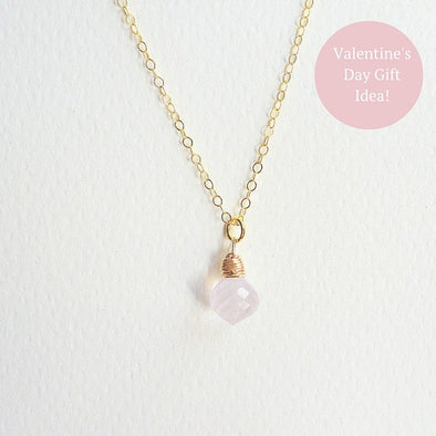 Rose Quartz Gem Drop Necklace