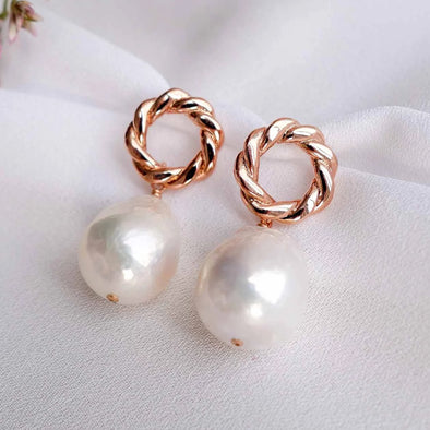 Twisted Rope Circle Ear Studs with Baroque Pearls - #34