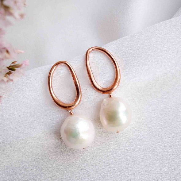 Organic Oval Ear Studs with Baroque Pearls - #36