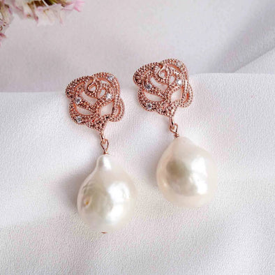 Rose Ear Studs with Baroque Pearls - #37