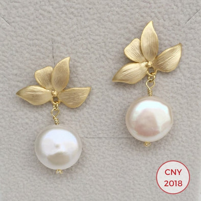 Four Leaf Ear Studs with Freshwater Coin Pearl - G