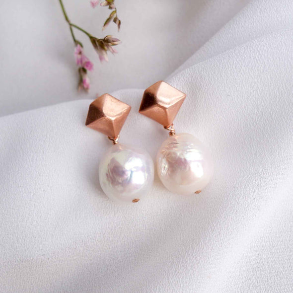 Kite Ear Studs with Baroque Pearls - #38