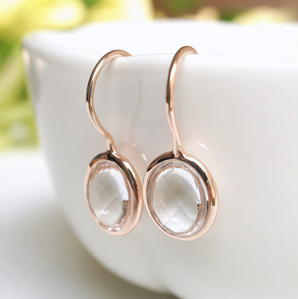 Oval Clear Quartz Rose Gold Hook Earrings