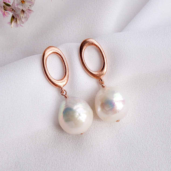 Chic Oval Ear Studs with Baroque Pearls - #39