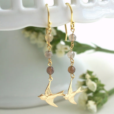 Ombre Agate Gemstone Bird Dangling Earrings,