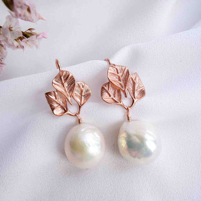 Three Leaf Ear Hooks with Baroque Pearls - #40
