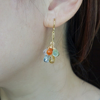 Summer Love Gem Cluster Hook Earrings