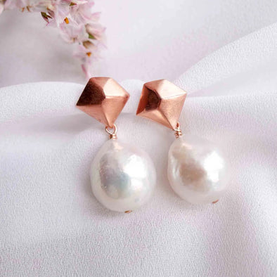 Kite Ear Studs with Baroque Pearls - #42