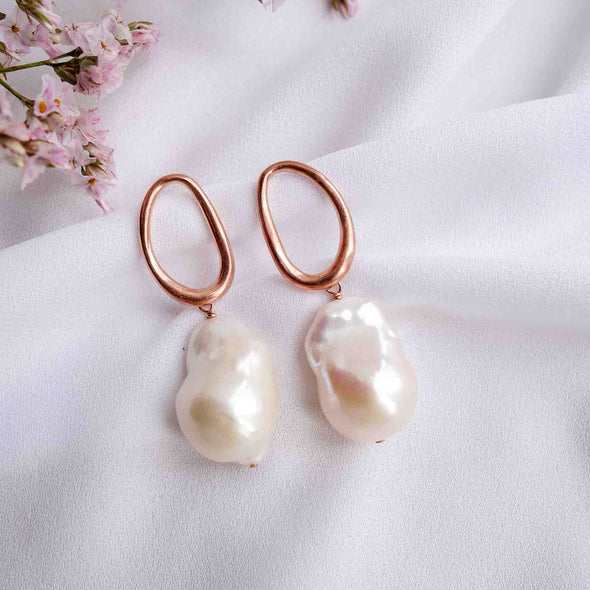 Organic Oval Ear Studs with Baroque Pearls - #43