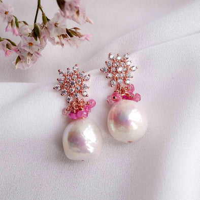 Snow Ear Studs with Baroque Pearls - #45