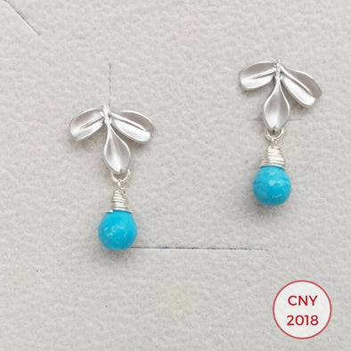 Three Leaf Ear Studs with Turquoise - S