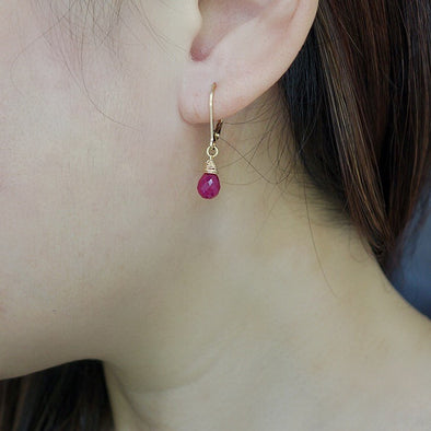 Ruby Gem Drop Closed Hook Earrings