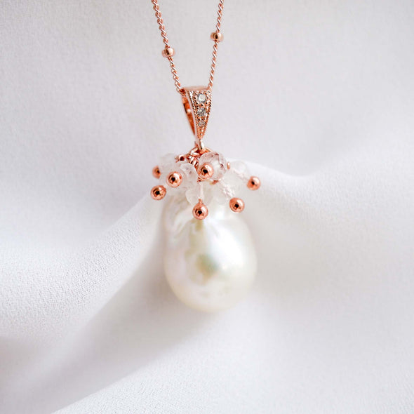 Baroque Pearl Necklace with Crystal Cluster
