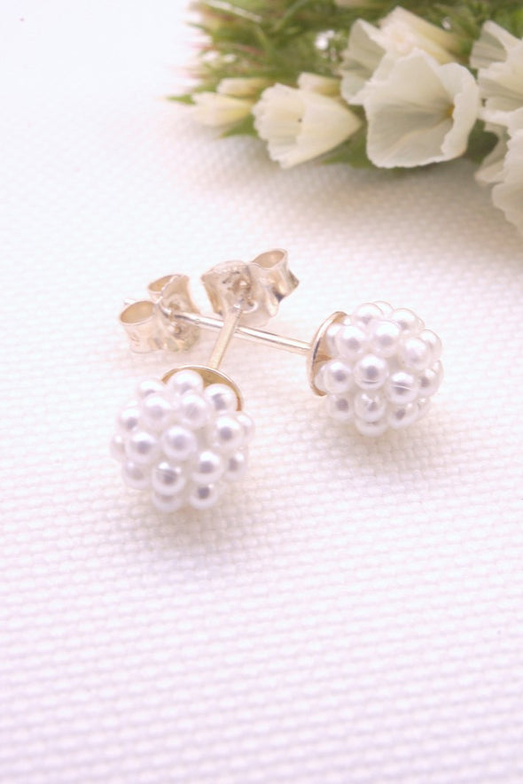 Tiny Ear Studs Encrusted with Mini Pearls