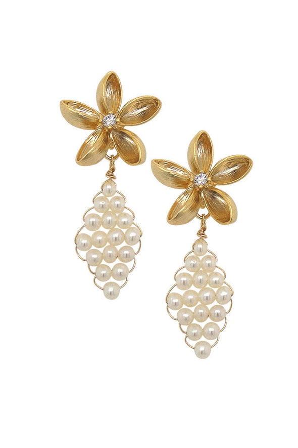Floral Ear Studs with Hand-woven Pearls