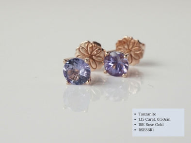 Tanzanite Ear Studs in 18K Rose Gold RSES6R1