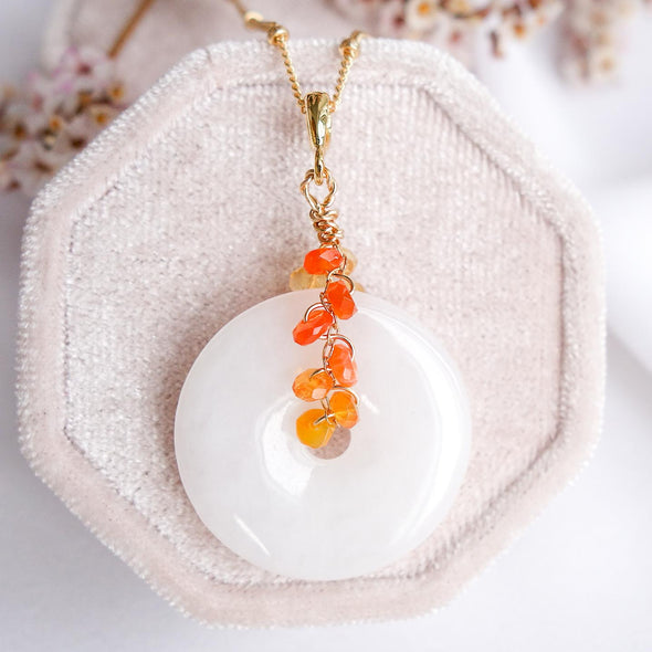 White Jade with Mexican Fire Opal Vine Necklace