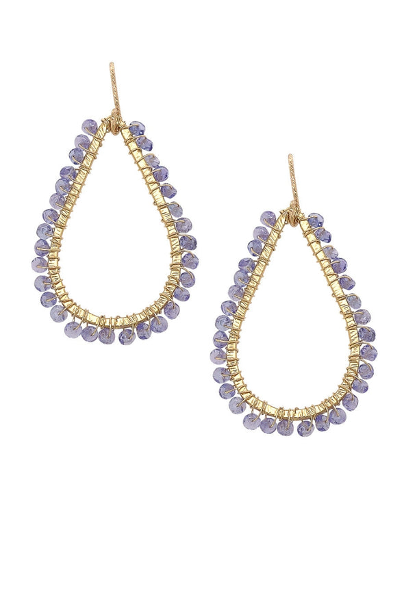 Textured Teardrop Frame with Tanzanite Earrings
