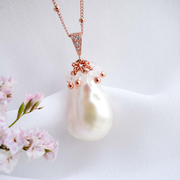 Baroque Pearl Necklace with Moonstone Cluster