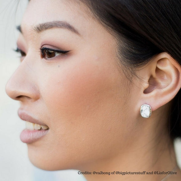 Rectangle Howlite Silver Ear Studs