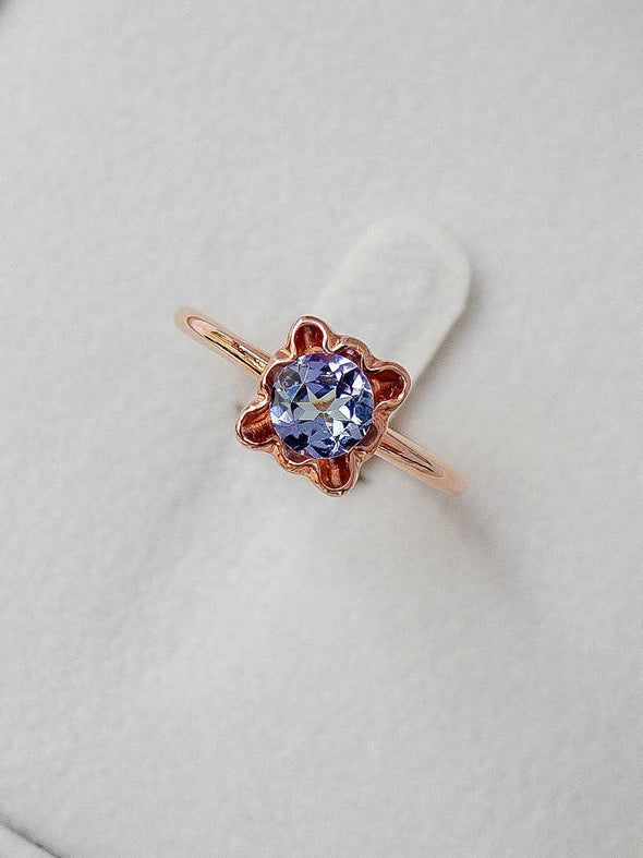 Romantic Bezel Tanzanite Ring in 14K Rose Gold