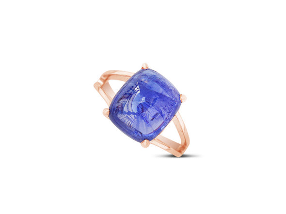 Tanzanite Cabochon Ring in 18K Rose Gold